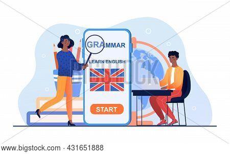 Female Teacher Explain Sitting Male Student Grammar Rules. Language School Distant Education Technol