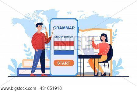 Female Teacher Explain Male Student Grammar Rules. Distant Education Technology For Language School.