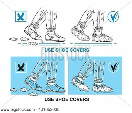 Medical Shoe Covers, Use Protective Disposable Surgical Overshoe On Street Footwear Boots Icon Set.