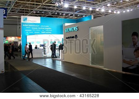 Hannover, Germany - March 9: Stand Of Siemens On March 9, 2013 In Cebit Computer Expo, Hannover, Ger
