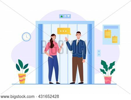 Office Staff Waiting Elevator In Business Center Hall Company. Neighbors In Apartment House Has Smal
