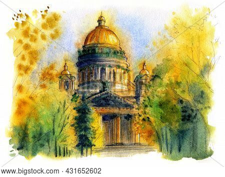 Autumn City Landscape, Painted In Watercolor. View Of St. Petersburg Street. St. Isaacs Cathedral, S