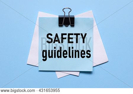 Safety Guidelines, The Text On The Sticker Is Light Blue On A Light Blue Background
