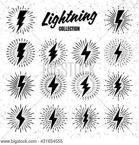 Set Of Vintage Lightning Bolts And Sunrays On Grunge Background. Lightnings With Sunburst Effect. Th