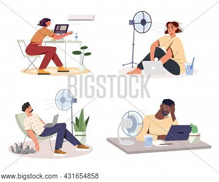 Cooling Devices At Work. Collection Of Exhaustion Employees Sitting Under Fan Or Air Conditioner. Re