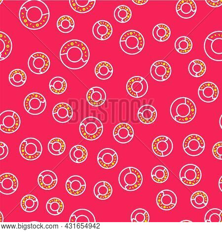 Line Donut With Sweet Glaze Icon Isolated Seamless Pattern On Red Background. Vector