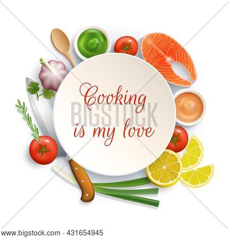 Love For Cooking Flat Lay Ingredients Composition Photo Build Around The Plate With Cock Knife Vecto