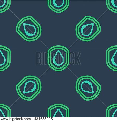 Line Waterproof Icon Isolated Seamless Pattern On Blue Background. Water Resistant Or Liquid Protect