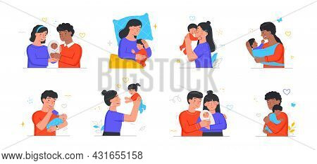 Collection Of Happy Families With Their Newborn Children. Moms And Dads Take Care Of Kids, Feed Them