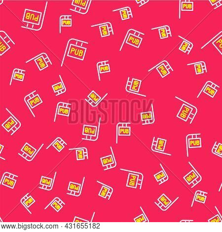 Line Street Signboard With Inscription Pub Icon Isolated Seamless Pattern On Red Background. Suitabl