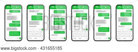 Realistic Smartphone With Messaging App. Sms Text Frame. Conversation Chat Screen With Green Message