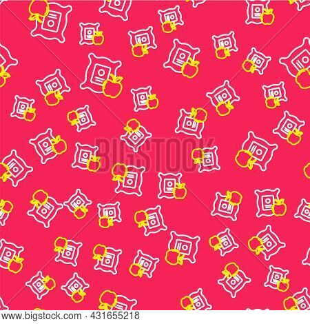 Line Apple In The Sack Icon Isolated Seamless Pattern On Red Background. Apples In A Canvas Bag. Far
