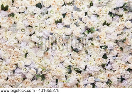 Background Of Artificial Roses. Many Artificial White Roses, Flower As Background And Decoration, St