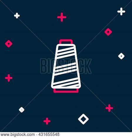 Line Sewing Thread On Spool Icon Isolated On Blue Background. Yarn Spool. Thread Bobbin. Colorful Ou
