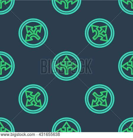 Line Road Traffic Sign. Signpost Icon Isolated Seamless Pattern On Blue Background. Pointer Symbol.
