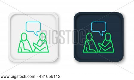 Line Two Sitting Men Talking Icon Isolated On White Background. Speech Bubble Chat. Message Icon. Co
