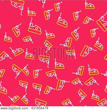 Line Bumper Car Icon Isolated Seamless Pattern On Red Background. Amusement Park. Childrens Entertai