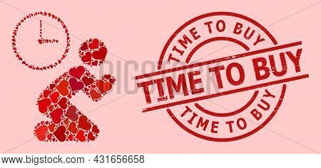 Scratched Time To Buy Stamp Seal, And Red Love Heart Collage For Pray Time. Red Round Stamp Seal Has