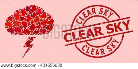 Grunge Clear Sky Stamp Seal, And Red Love Heart Collage For Thunderstorm. Red Round Stamp Seal Conta