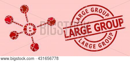 Distress Large Group Stamp Seal, And Red Love Heart Mosaic For Bitcoin Links. Red Round Stamp Seal H