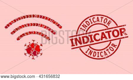 Grunge Indicator Badge, And Red Love Heart Mosaic For Virus Source. Red Round Badge Includes Indicat