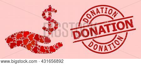 Scratched Donation Stamp Seal, And Red Love Heart Pattern For Dollar Donation Hand. Red Round Stamp