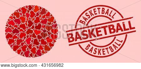 Scratched Basketball Seal, And Red Love Heart Mosaic For Circle. Red Round Stamp Seal Has Basketball