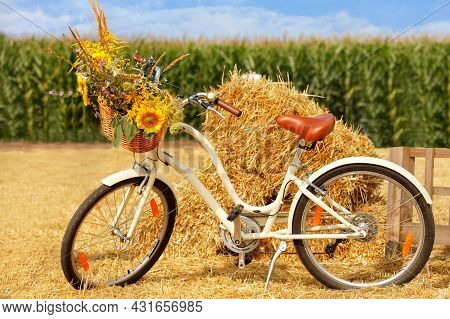 Beautiful Rural Provence At The End Of Summer, Still Life, Ladies' Bike With A Bouquet Of Wild Flowe