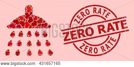 Rubber Zero Rate Stamp, And Red Love Heart Collage For Shower. Red Round Stamp Has Zero Rate Tag Ins