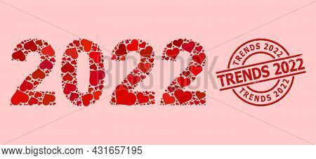 Rubber Trends 2022 Seal, And Red Love Heart Mosaic For 2022 Year Digits. Red Round Seal Has Trends 2
