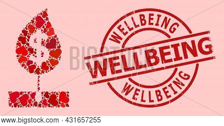 Grunge Wellbeing Stamp, And Red Love Heart Mosaic For Dollar Sprout. Red Round Stamp Seal Includes W