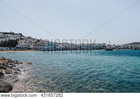 Mykonos Town, Greece - September 24, 2019: View Over The Water Of Hora, Also Known As Mykonos Town,