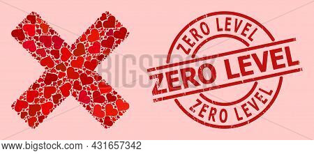 Scratched Zero Level Stamp, And Red Love Heart Collage For Reject Cross. Red Round Stamp Seal Has Ze