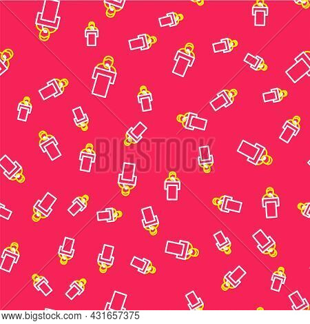 Line Gives Lecture Icon Isolated Seamless Pattern On Red Background. Stand Near Podium. Speak Into M