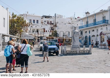 Mykonos Town, Greece - September 23, 2019: People Walking On A Town Square In Hora (also Known As My