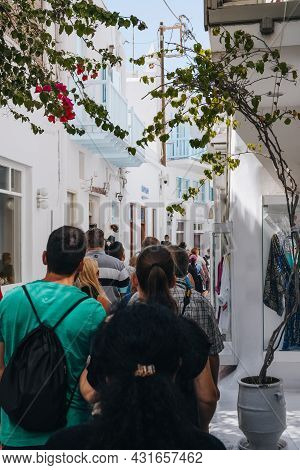 Mykonos Town, Greece - September 24, 2019: View Of A Busy Narrow Street In Hora (also Known As Mykon