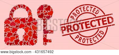 Grunge Protected Stamp Seal, And Red Love Heart Mosaic For Secrecy. Red Round Stamp Seal Contains Pr