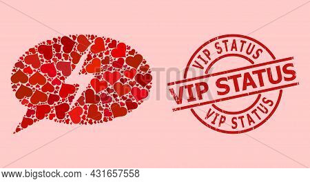 Scratched Vip Status Stamp Seal, And Red Love Heart Mosaic For Emergency Message. Red Round Seal Con
