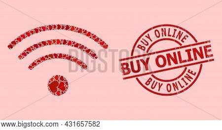Grunge Buy Online Stamp Seal, And Red Love Heart Mosaic For Wi-fi Source. Red Round Stamp Has Buy On