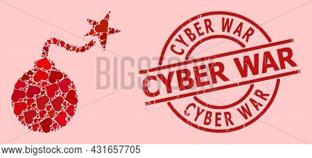 Distress Cyber War Seal, And Red Love Heart Mosaic For Bomb Ignition. Red Round Seal Has Cyber War T