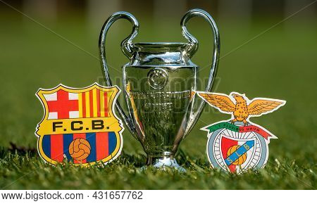 August 27, 2021 Barcelona, Spain. The Emblems Of Football Clubs S.l. Benfica And Fc Barcelona And Th