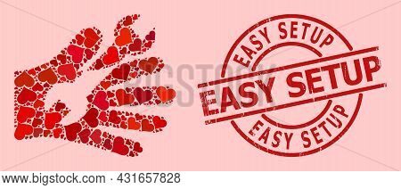 Distress Easy Setup Stamp, And Red Love Heart Collage For Wrench Service Hand. Red Round Stamp Seal
