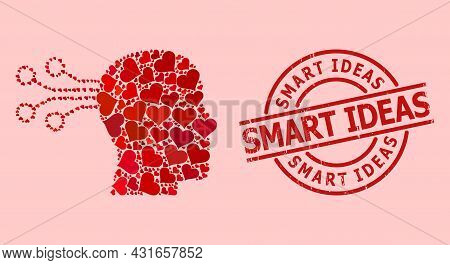 Distress Smart Ideas Stamp, And Red Love Heart Collage For Mind Interface. Red Round Stamp Includes