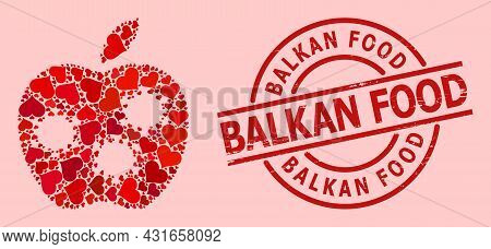 Distress Balkan Food Stamp Seal, And Red Love Heart Mosaic For Infected Apple. Red Round Stamp Conta