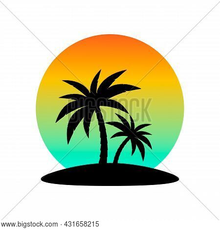 Palm Trees On The Island And Sunset Vector. Silhouettes Of Palm Trees Against The Sunset.