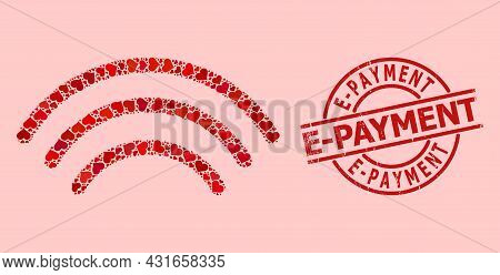 Rubber E-payment Stamp Seal, And Red Love Heart Mosaic For Wi-fi Waves. Red Round Stamp Seal Include