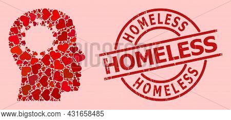 Rubber Homeless Stamp, And Red Love Heart Mosaic For Brain Infection. Red Round Stamp Has Homeless T