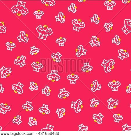 Line Bodybuilder Showing His Muscles Icon Isolated Seamless Pattern On Red Background. Fit Fitness S