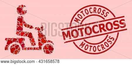 Rubber Motocross Stamp Seal, And Red Love Heart Mosaic For Motorbike Driver. Red Round Stamp Has Mot