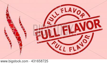 Rubber Full Flavor Stamp Seal, And Red Love Heart Mosaic For Aroma. Red Round Stamp Seal Contains Fu